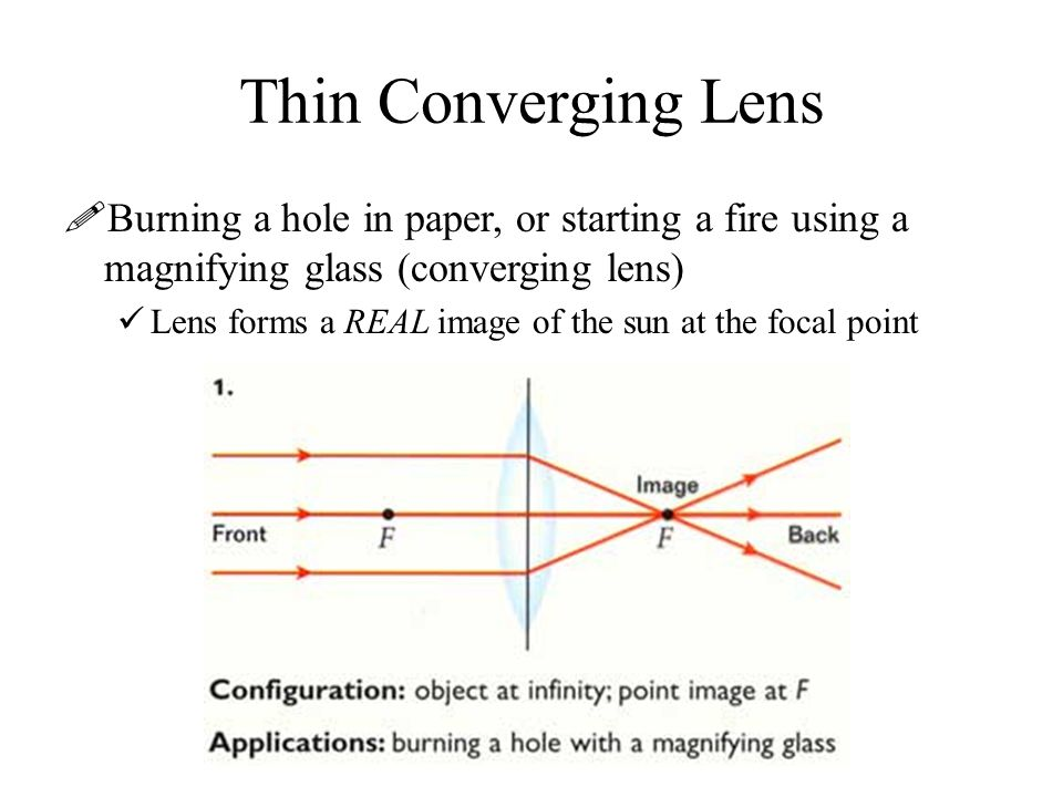 Thin Converging Lens Burning a hole in paper, or starting a fire using a magnifying glass (converging lens)