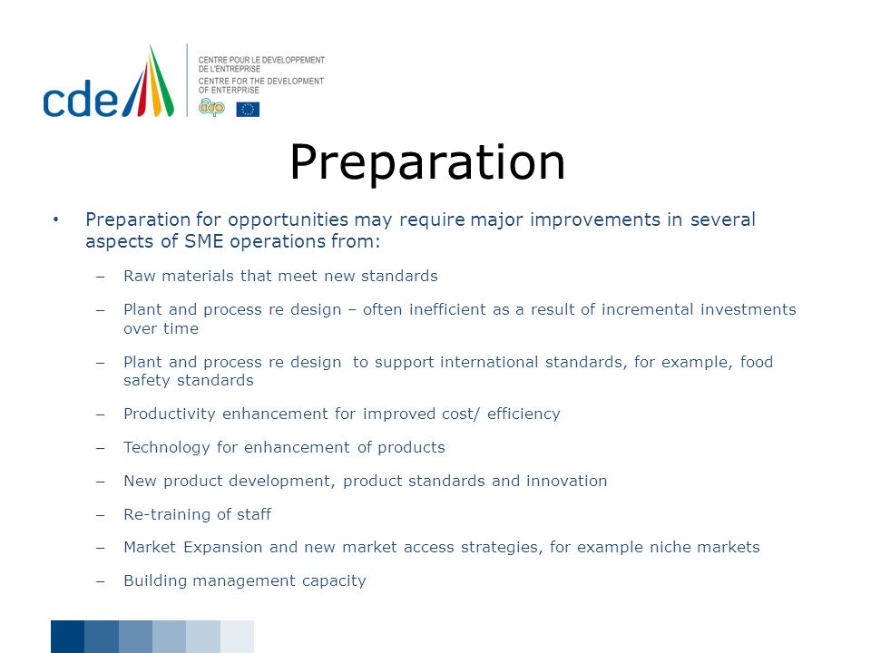 Preparation Preparation for opportunities may require major improvements in several aspects of SME operations from: