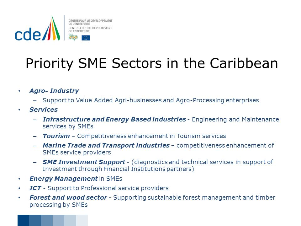 Priority SME Sectors in the Caribbean