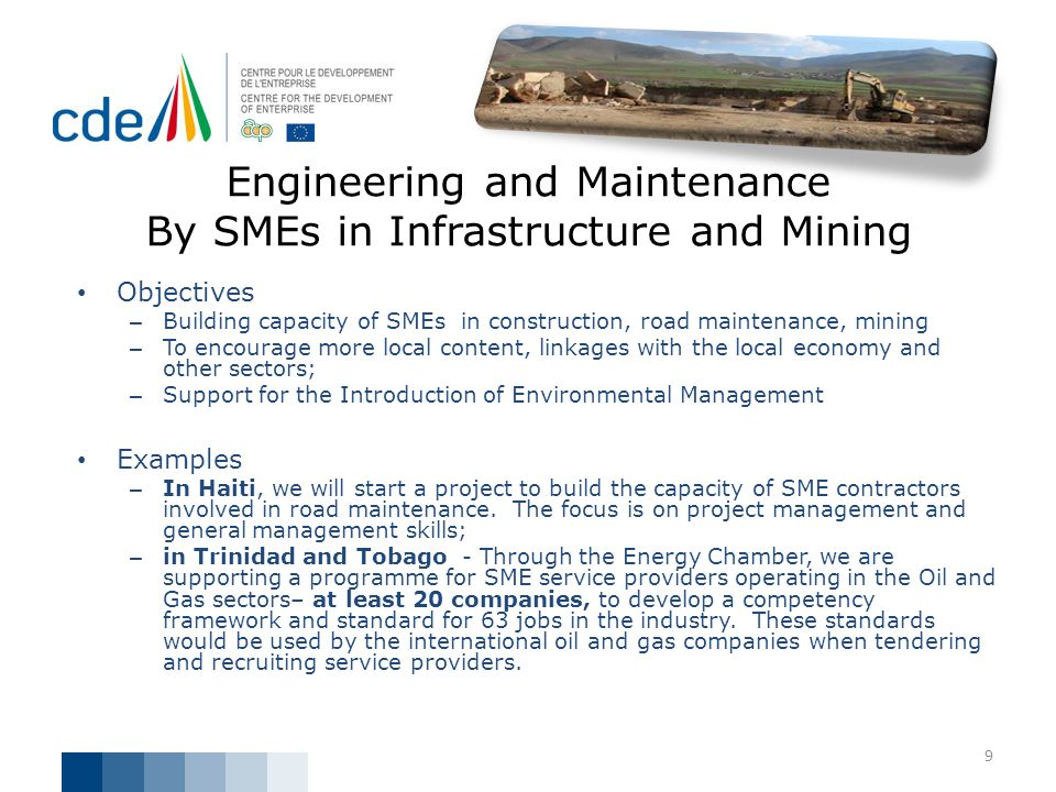 Engineering and Maintenance By SMEs in Infrastructure and Mining