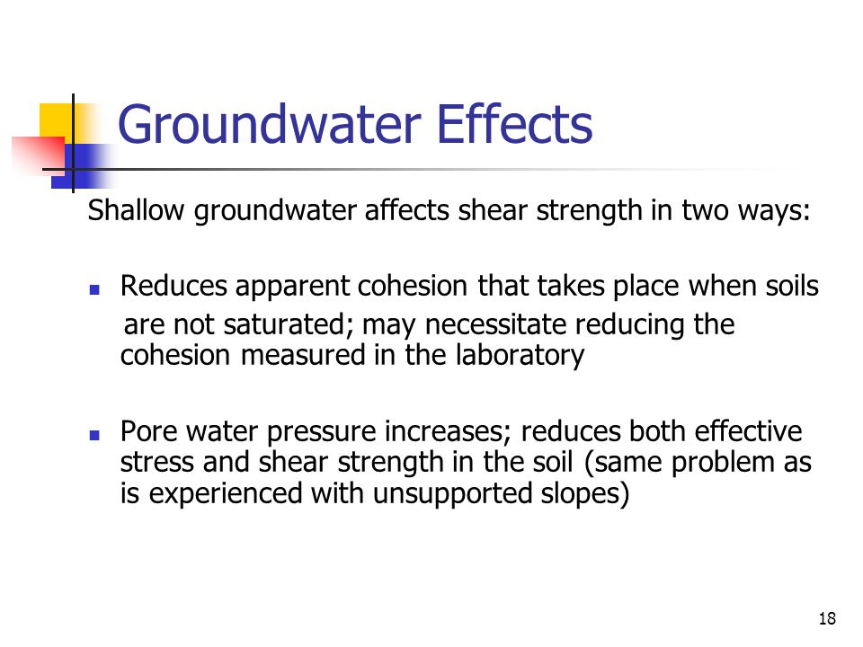 Groundwater Effects Shallow groundwater affects shear strength in two ways: Reduces apparent cohesion that takes place when soils.