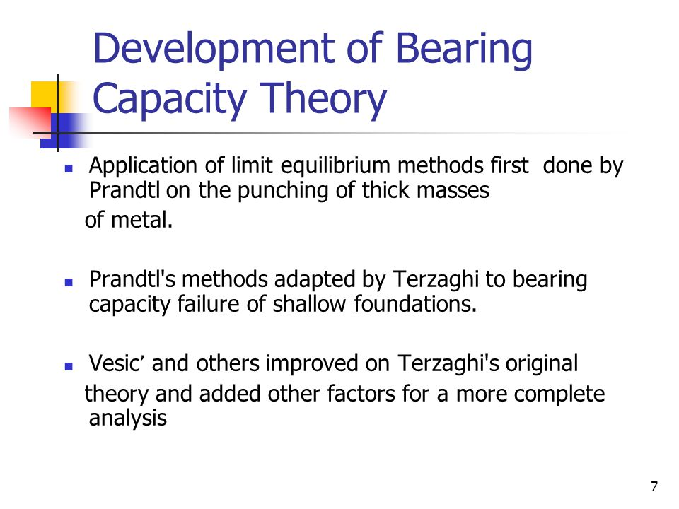 Development of Bearing Capacity Theory
