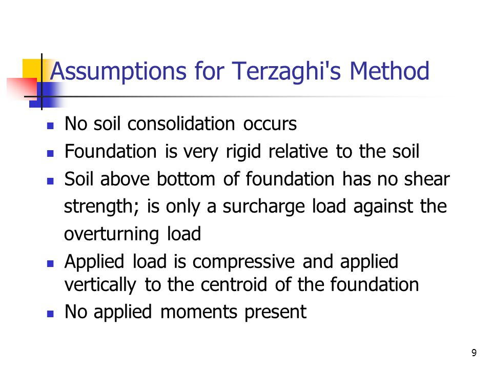 Assumptions for Terzaghi s Method
