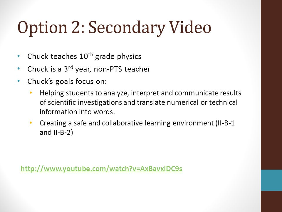 Option 2: Secondary Video