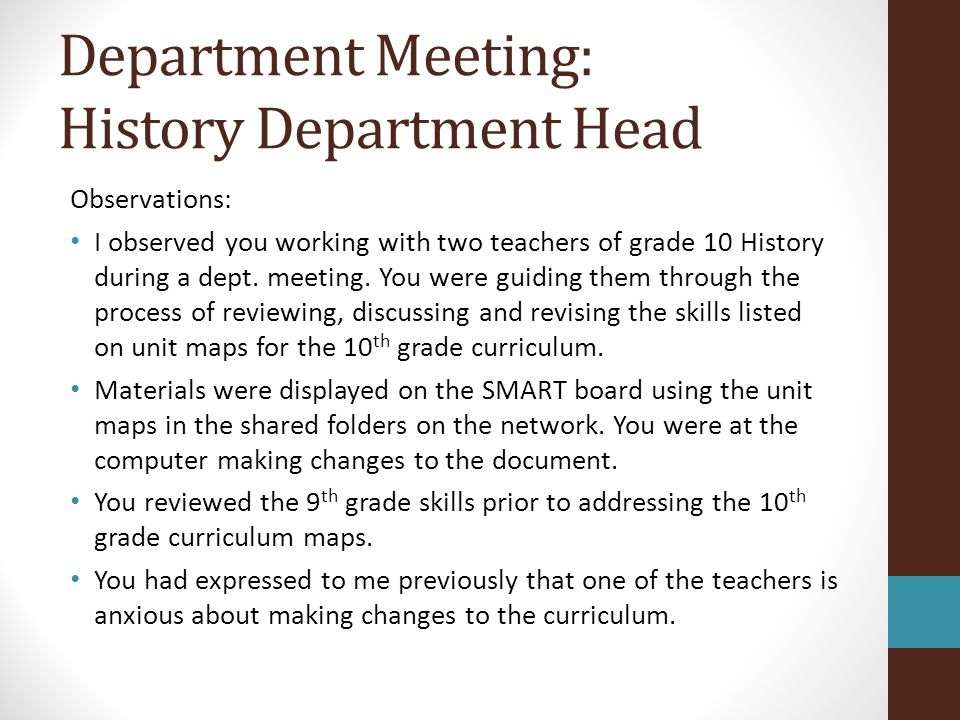 Department Meeting: History Department Head