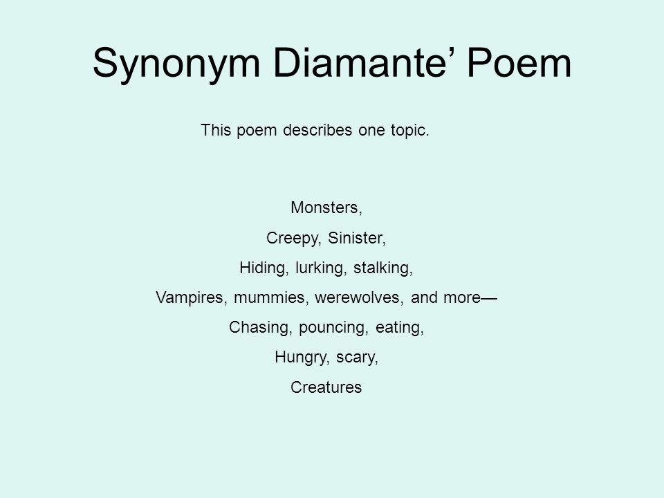 99 example of poem diamante.