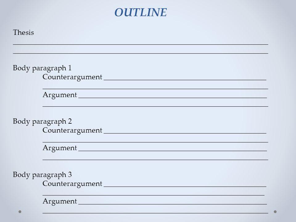 counter argument paragraph outline