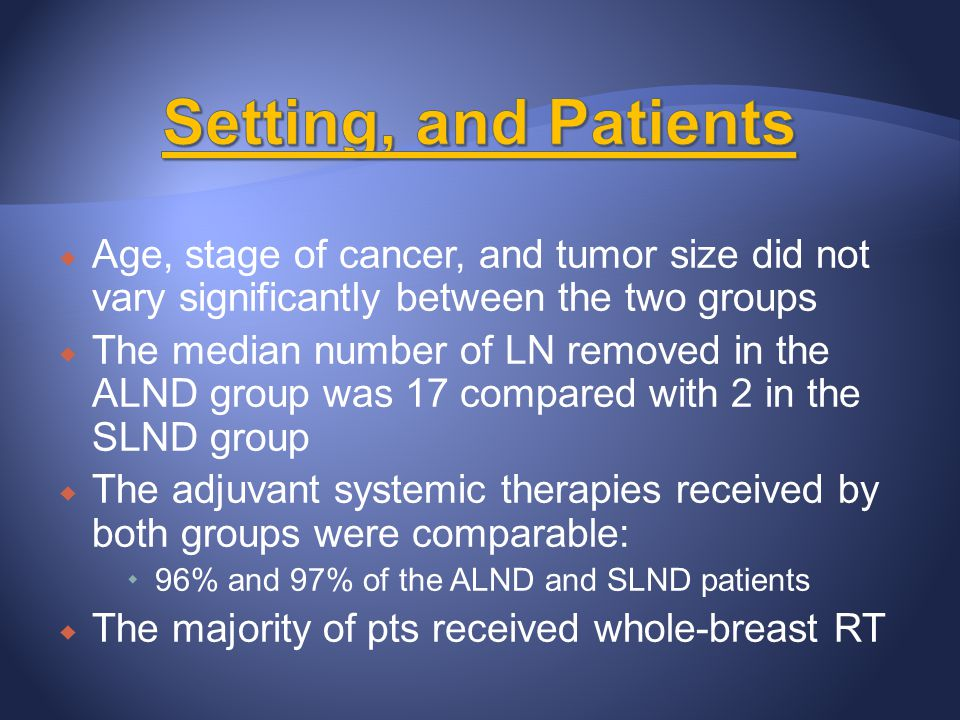Setting, and Patients Age, stage of cancer, and tumor size did not vary significantly between the two groups.