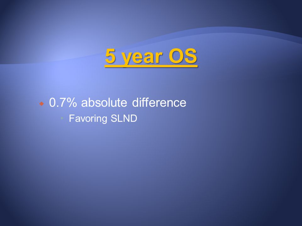 5 year OS 0.7% absolute difference Favoring SLND