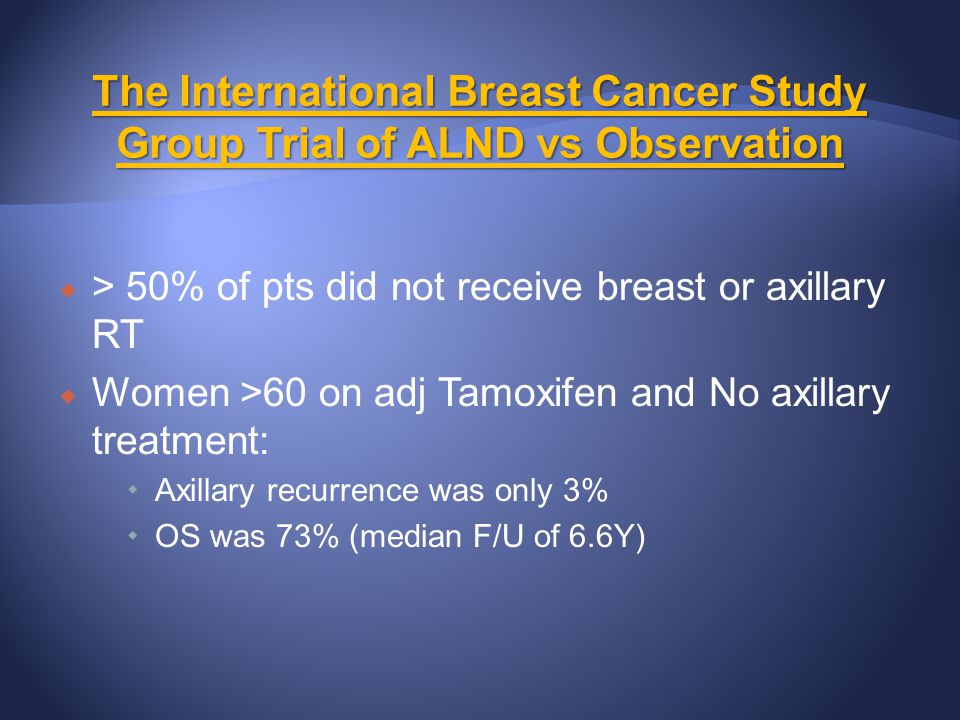 The International Breast Cancer Study Group Trial of ALND vs Observation