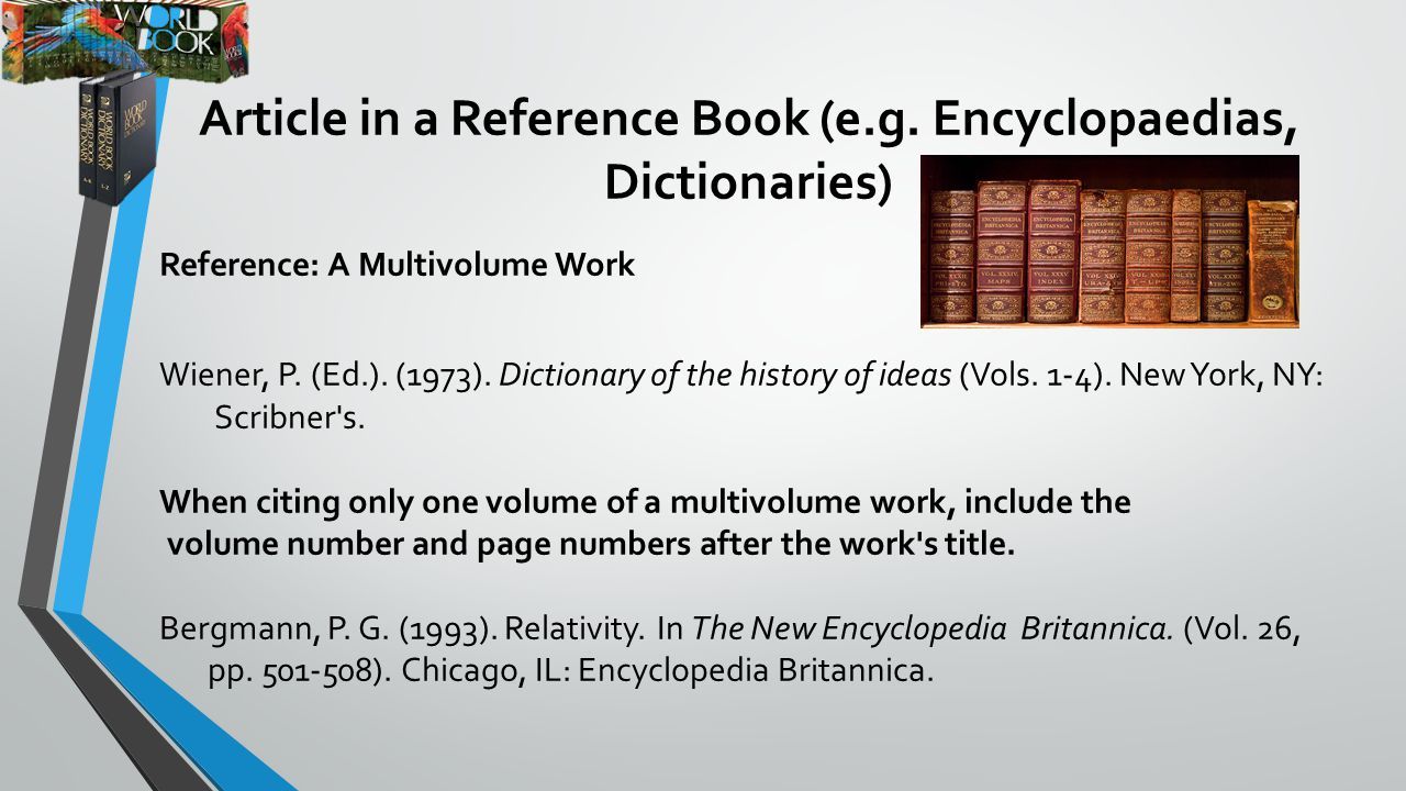 Writing a bibliography ppt video online download article in a reference book eg encyclopaedias dictionaries ccuart Images