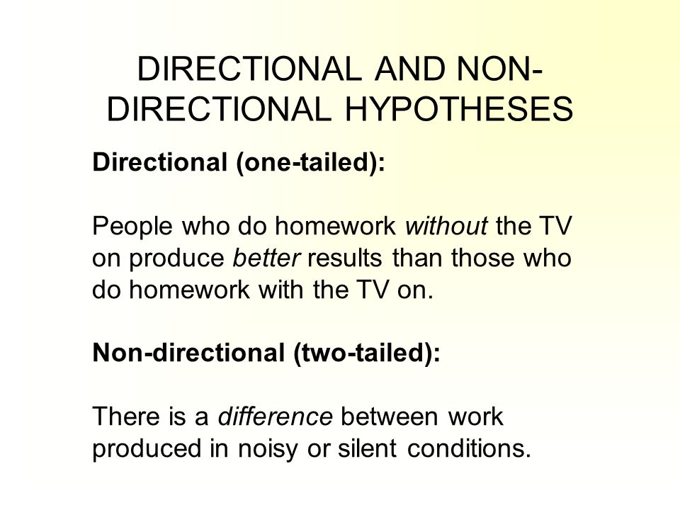 directional and nondirectional hypothesis