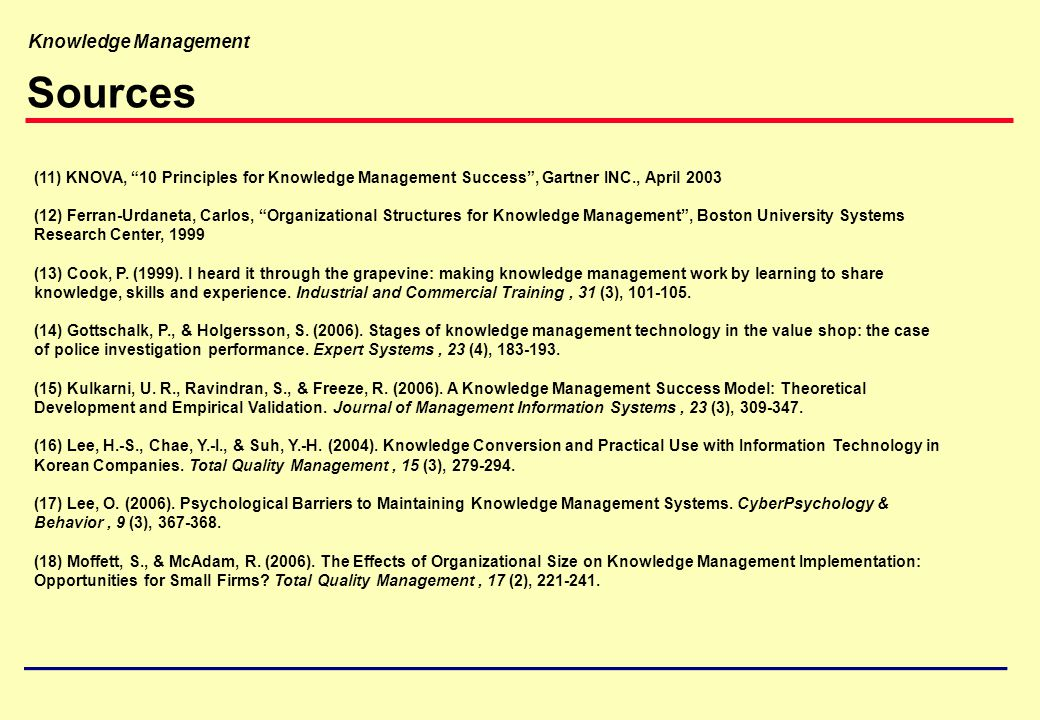 Sources 11 KNOVA 10 Principles For Knowledge Management Success Gartner INC