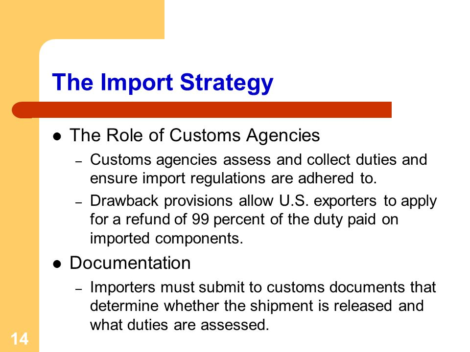 The Import Strategy The Role of Customs Agencies Documentation