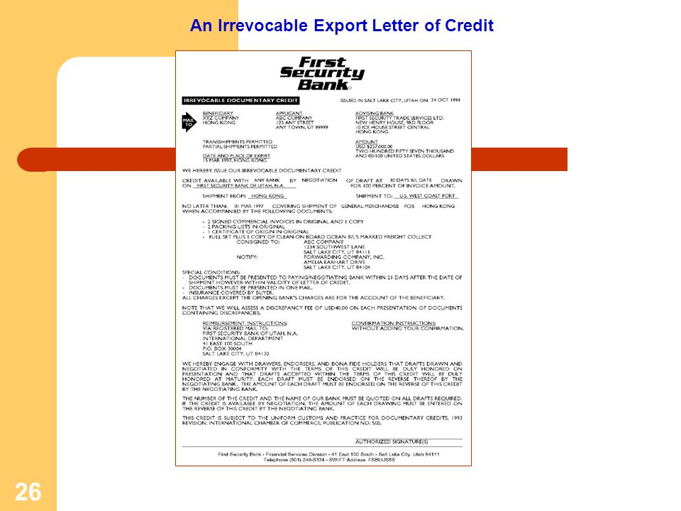 An Irrevocable Export Letter of Credit