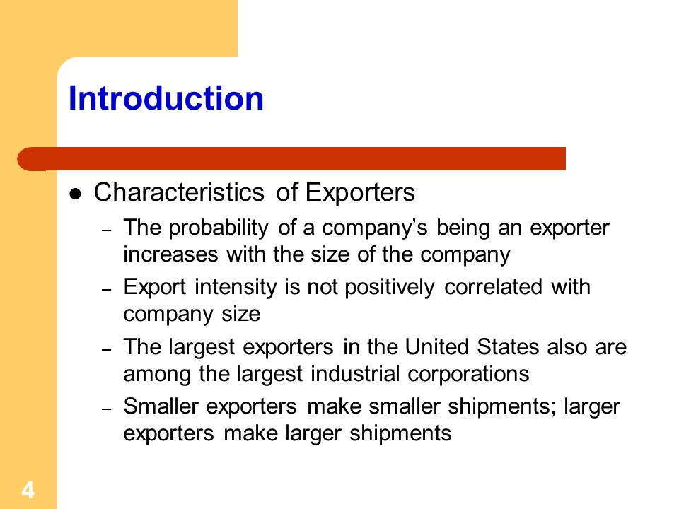 Introduction Characteristics of Exporters