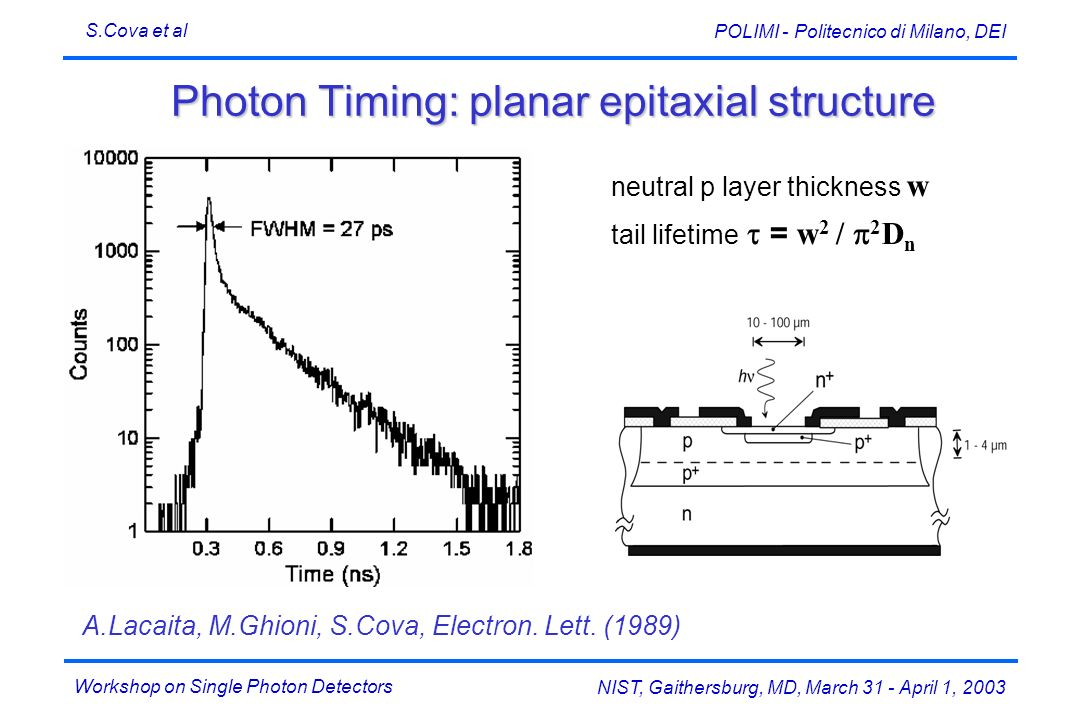 Photon Timing: planar epitaxial structure