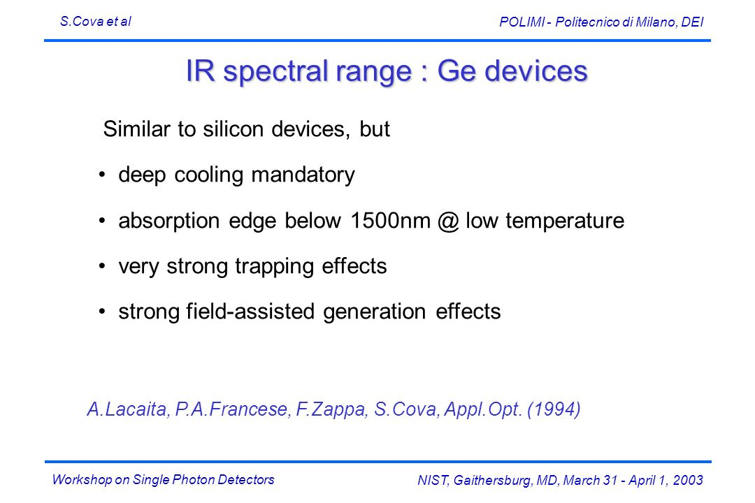IR spectral range : Ge devices