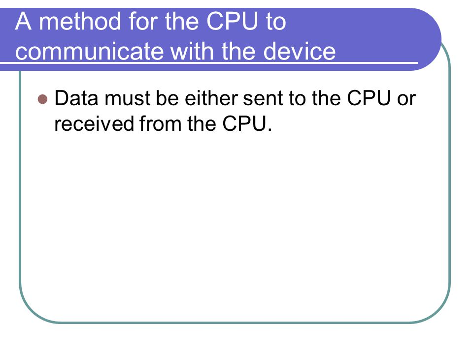 A method for the CPU to communicate with the device