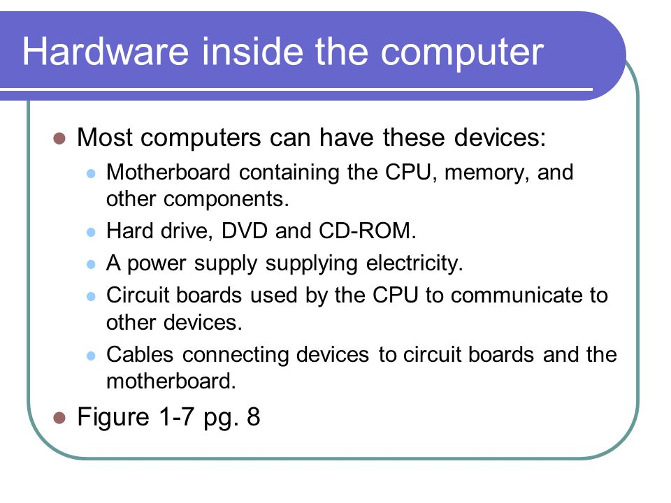Hardware inside the computer