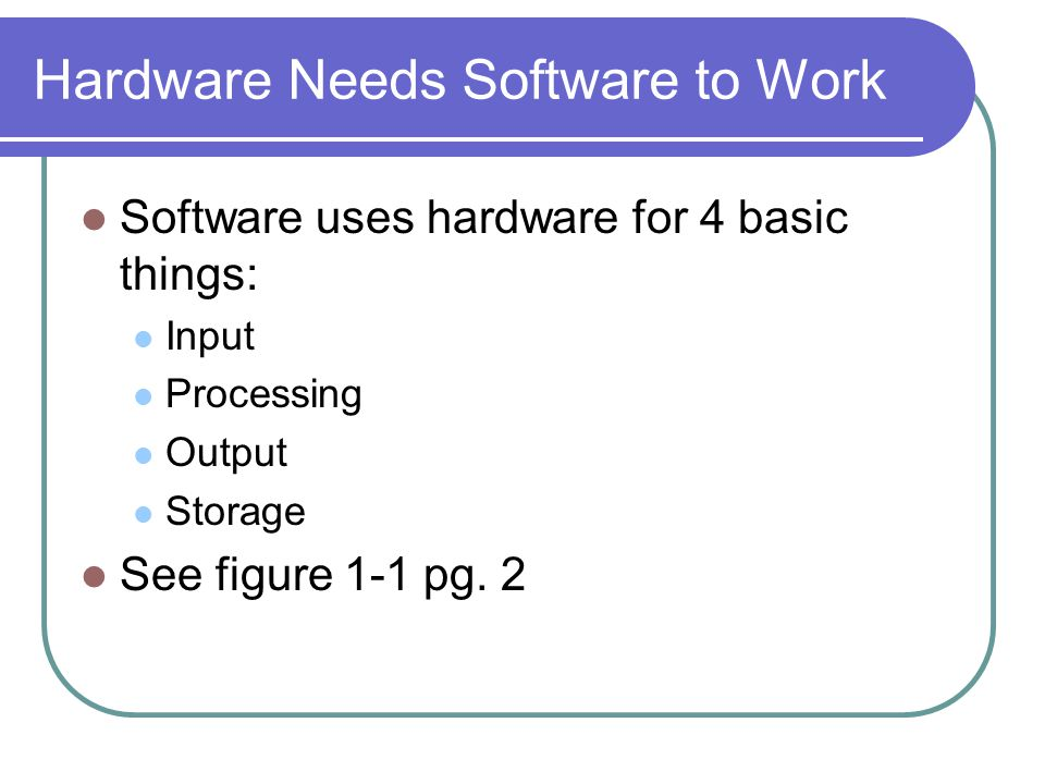 Hardware Needs Software to Work