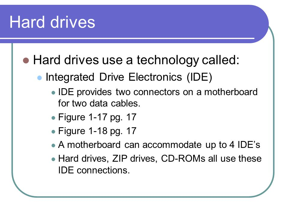 Hard drives Hard drives use a technology called: