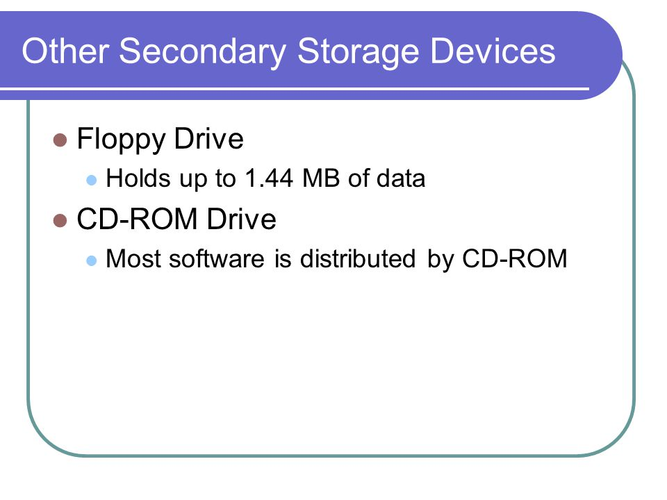 Other Secondary Storage Devices