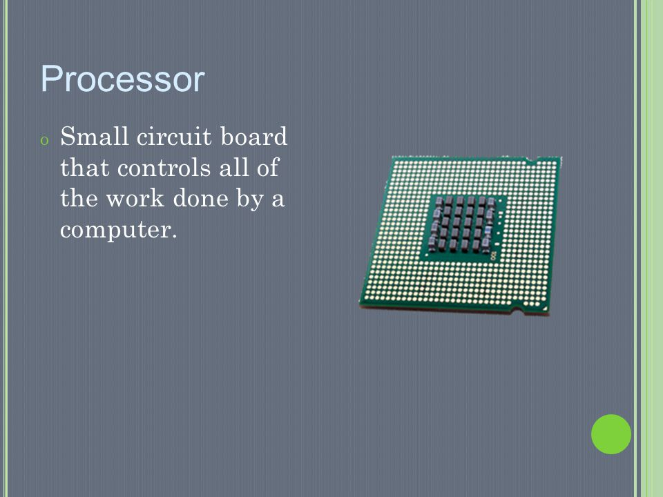 Processor Small circuit board that controls all of the work done by a computer.