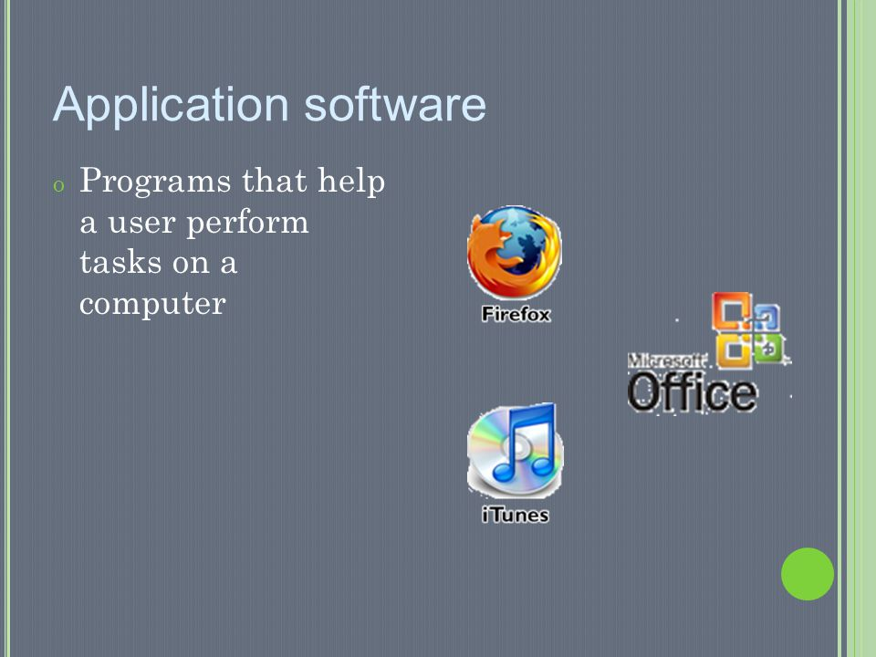 Application software Programs that help a user perform tasks on a computer