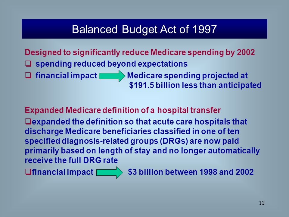 Balanced Budget Act of 1997 Designed to significantly reduce Medicare spending by spending reduced beyond expectations.