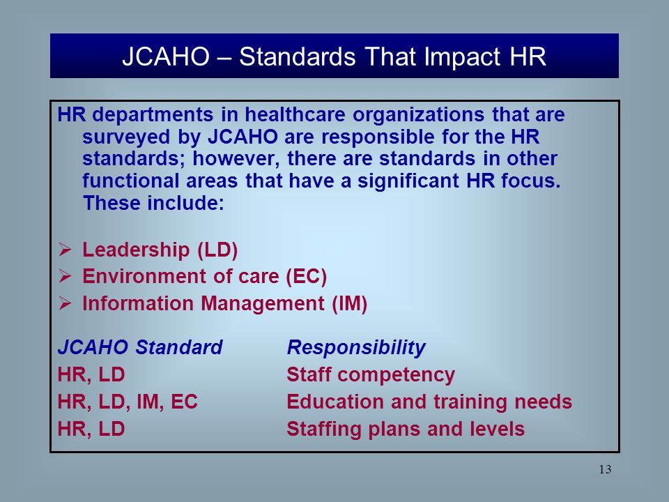 JCAHO – Standards That Impact HR