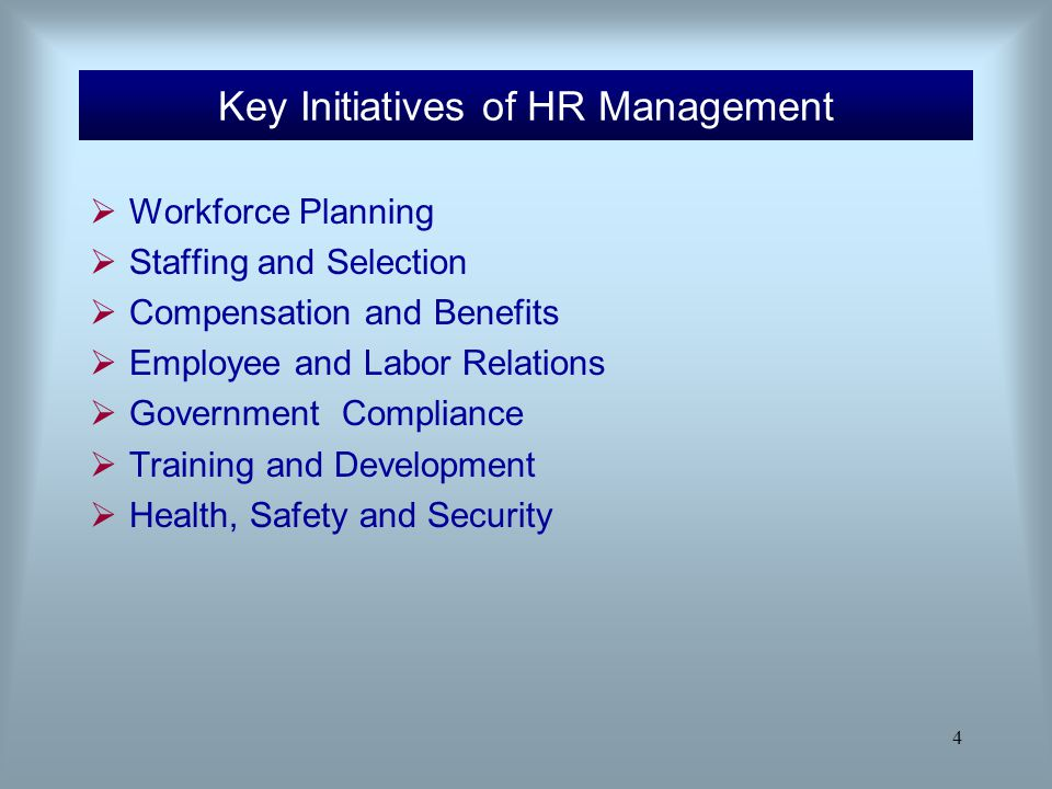 Key Initiatives of HR Management