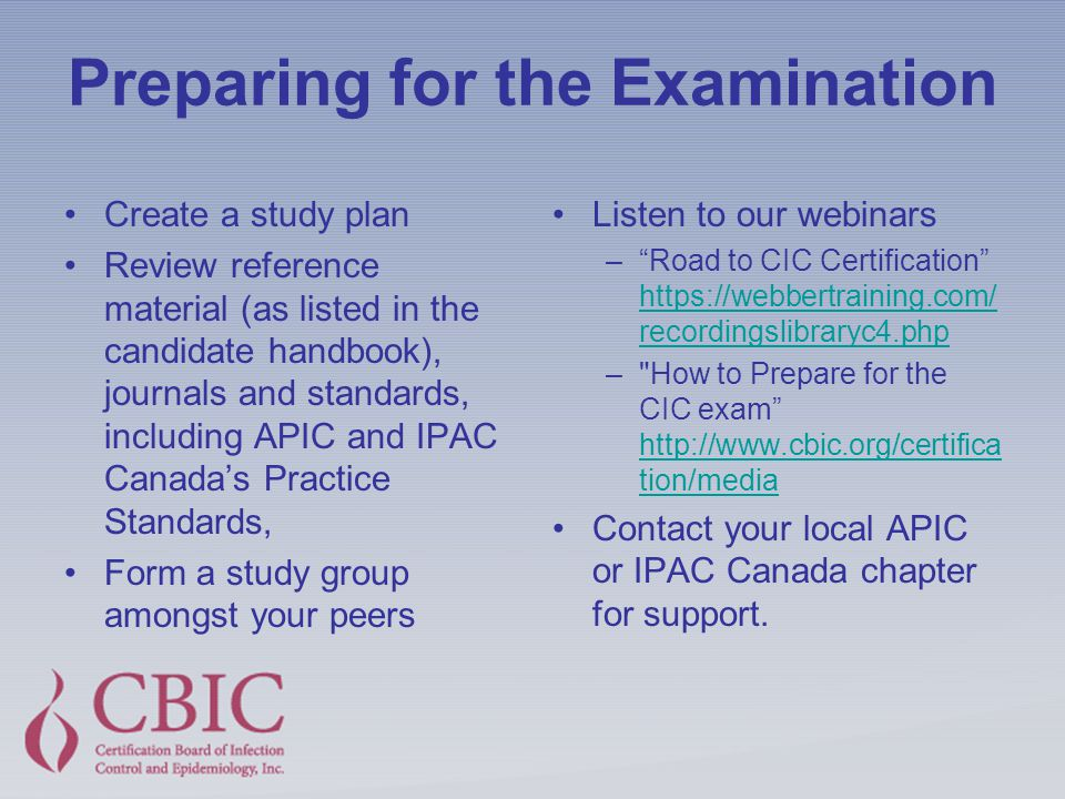 Certification In Infection Prevention And Control CIC Ppt