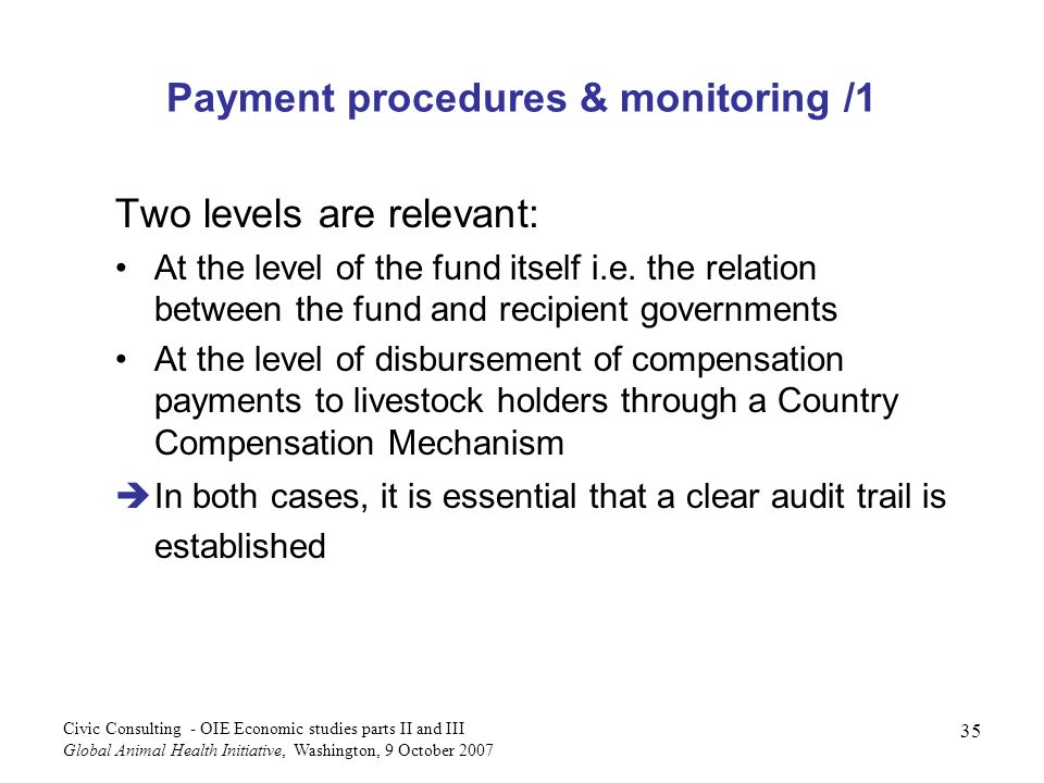 Payment procedures & monitoring /1