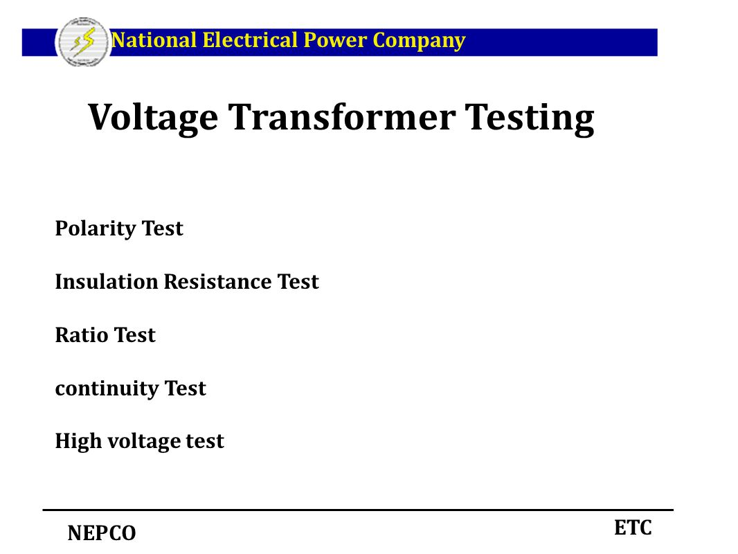 Voltage Transformer Testing