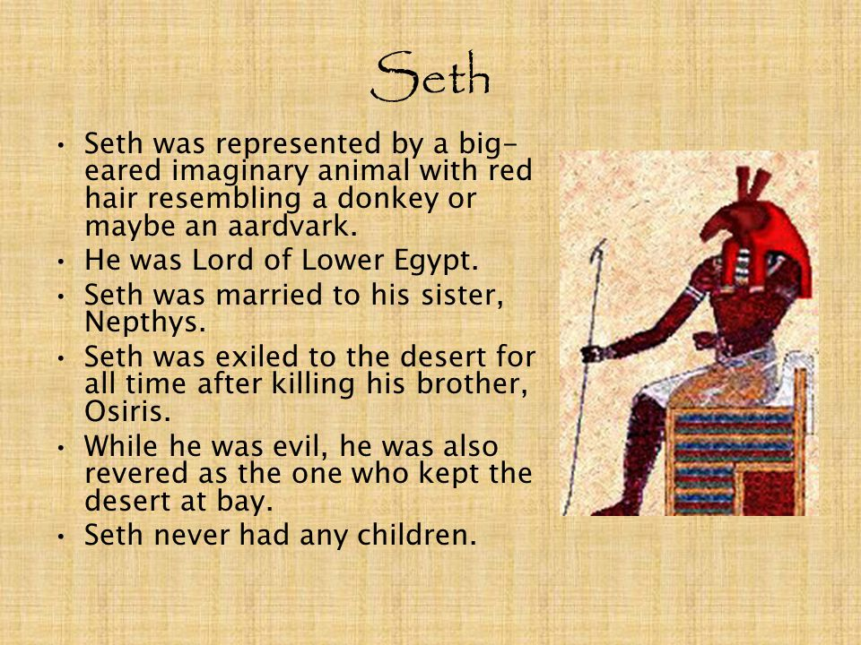 Seth Seth was represented by a big-eared imaginary animal with red hair resembling a donkey or maybe an aardvark.