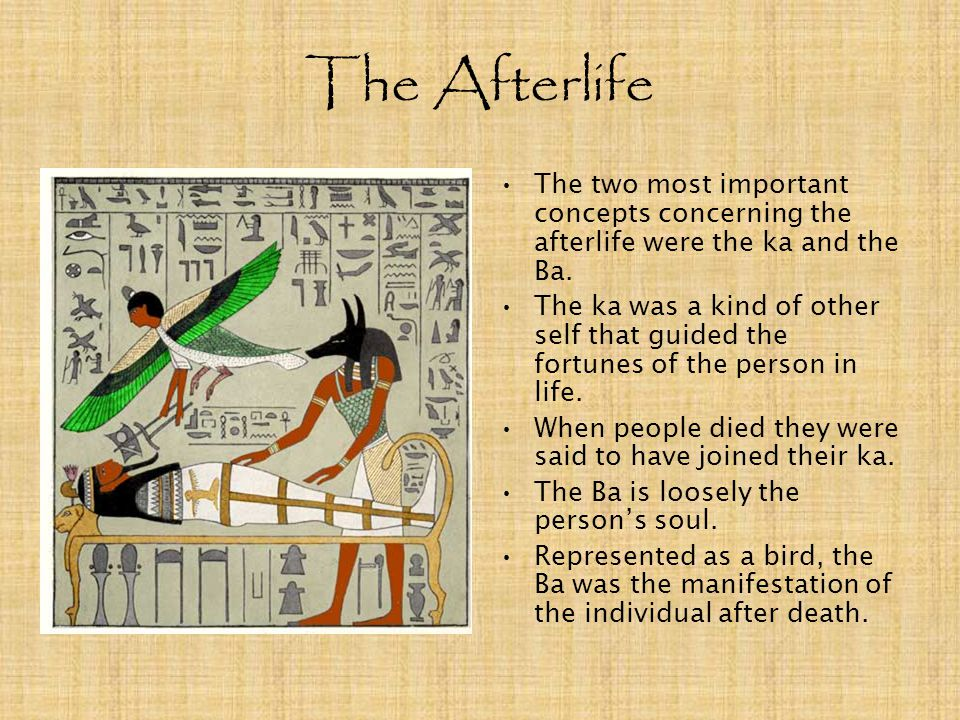 The Afterlife The two most important concepts concerning the afterlife were the ka and the Ba.