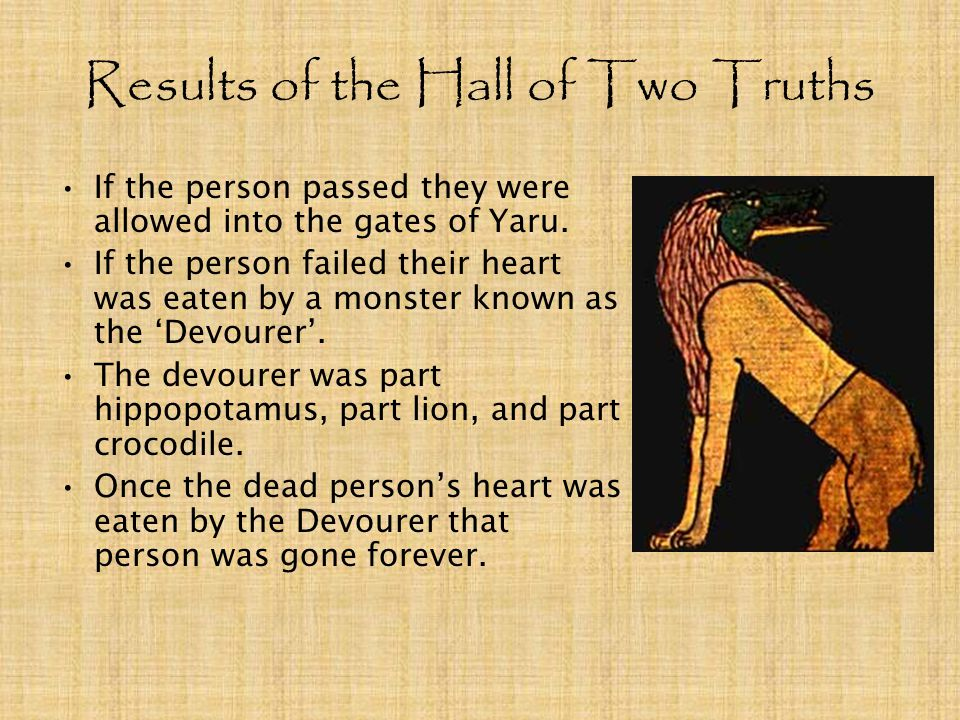 Results of the Hall of Two Truths