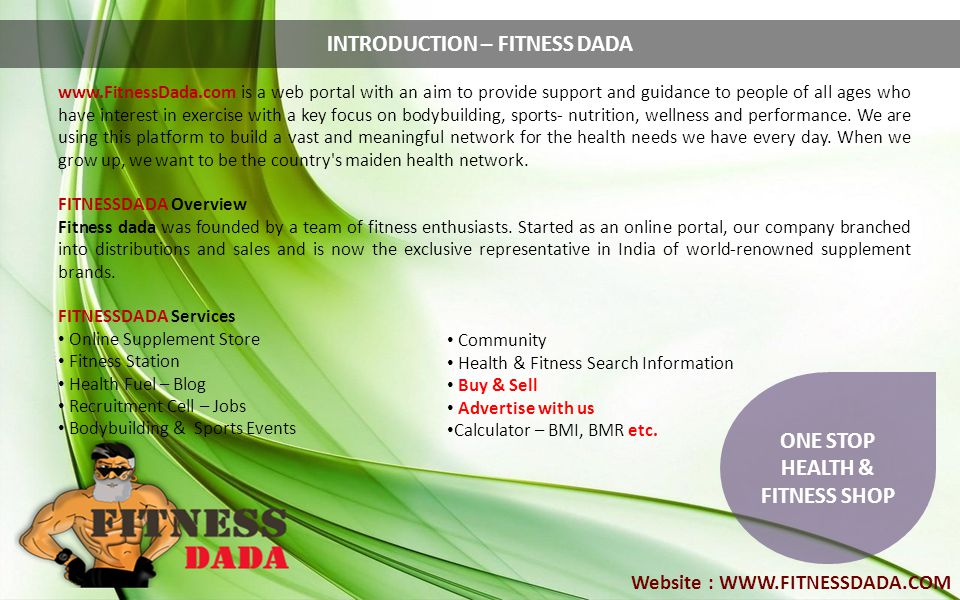 INTRODUCTION – FITNESS DADA ONE STOP HEALTH & FITNESS SHOP