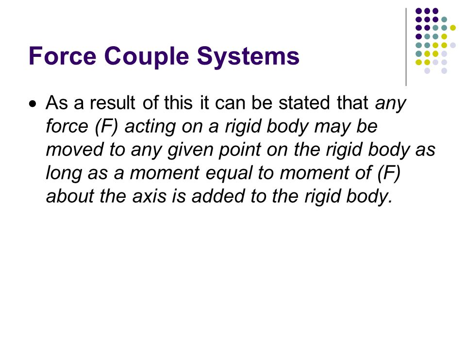 Force Couple Systems