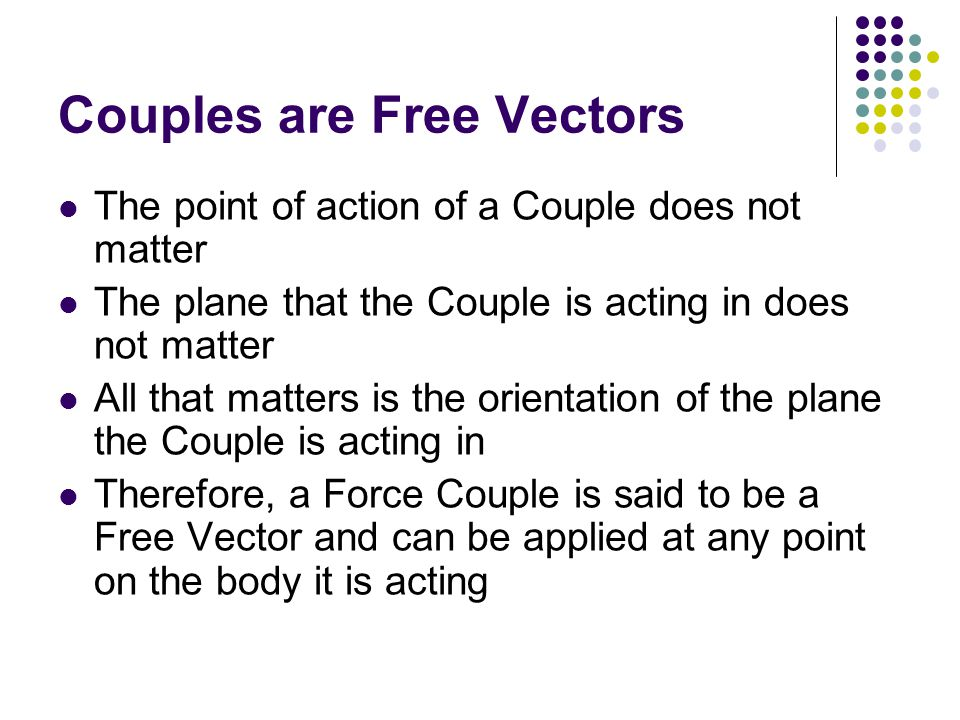 Couples are Free Vectors