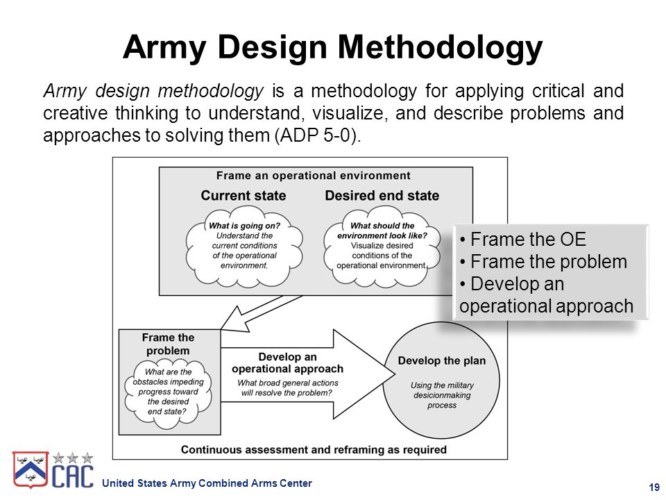 Army Design Methodology Products