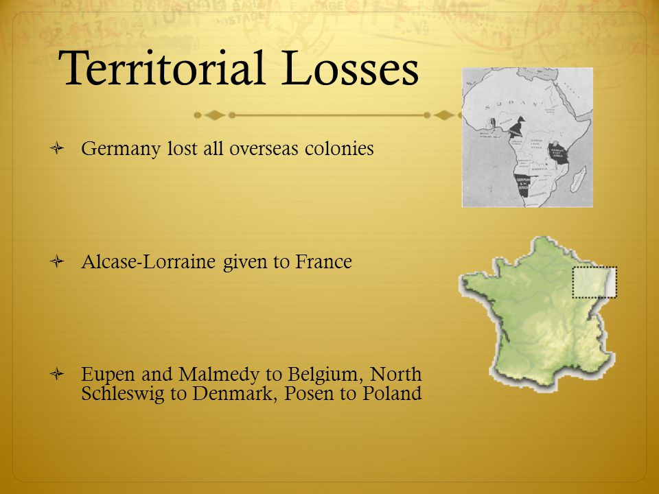 Territorial Losses Germany lost all overseas colonies