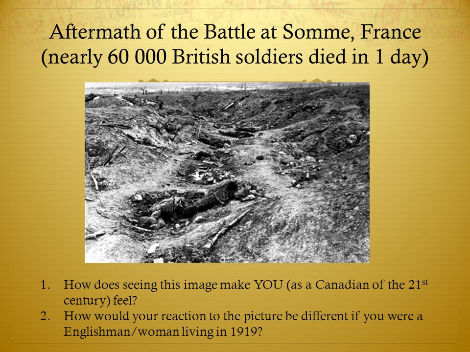 Aftermath of the Battle at Somme, France (nearly British soldiers died in 1 day)