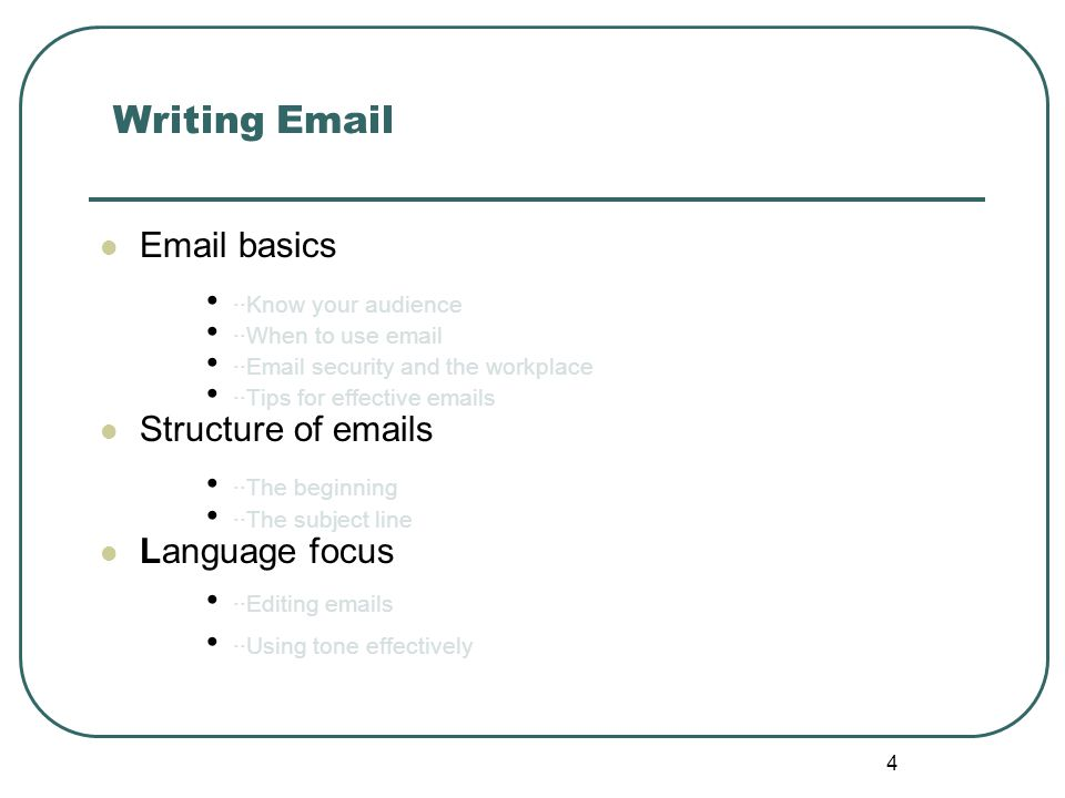 Writing for the workplace ppt video online download 4 writing email email basics structure altavistaventures Choice Image