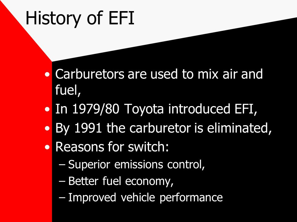 History of EFI Carburetors are used to mix air and fuel,