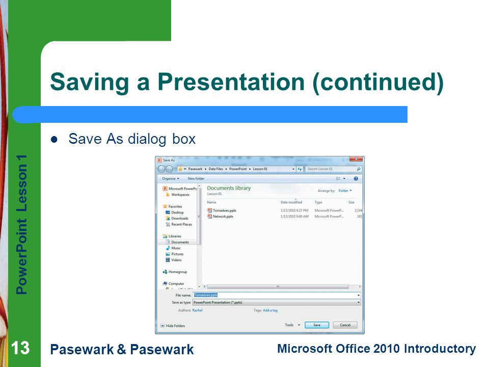 Saving a Presentation (continued)