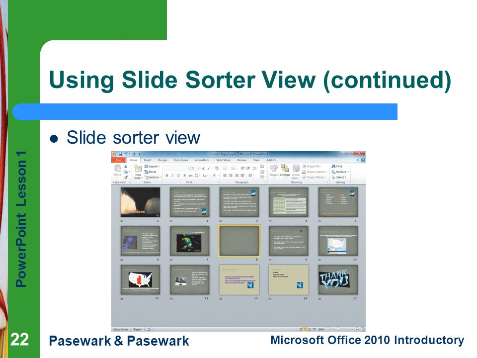 Using Slide Sorter View (continued)