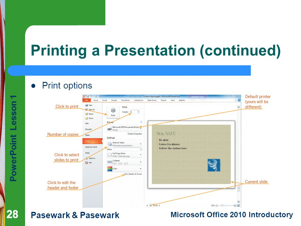 Printing a Presentation (continued)