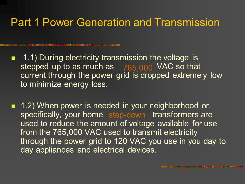 Part 1 Power Generation and Transmission